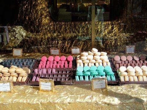 Gilded store for Laduree macaroons at the Burlington Arcade in London.