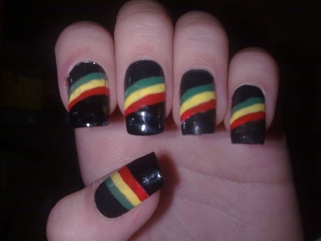 Rasta stripe by from Nail Art Gallery - 25+ Unique Rasta Nails Ideas On Pinterest Bob Marley Nails, DIY