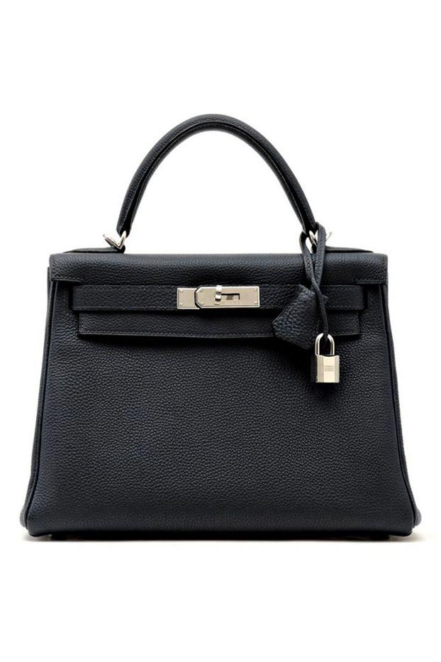 Hermès Kelly Bag // Black handbag with silver lock