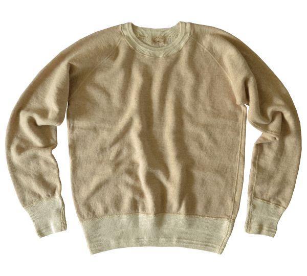 30/10ビンテージソフト裏毛スウェットシャツ - { Loop & Weft } 国産カットソーメーカー Vintage soft fleece sweatshirt in Ivory Brown