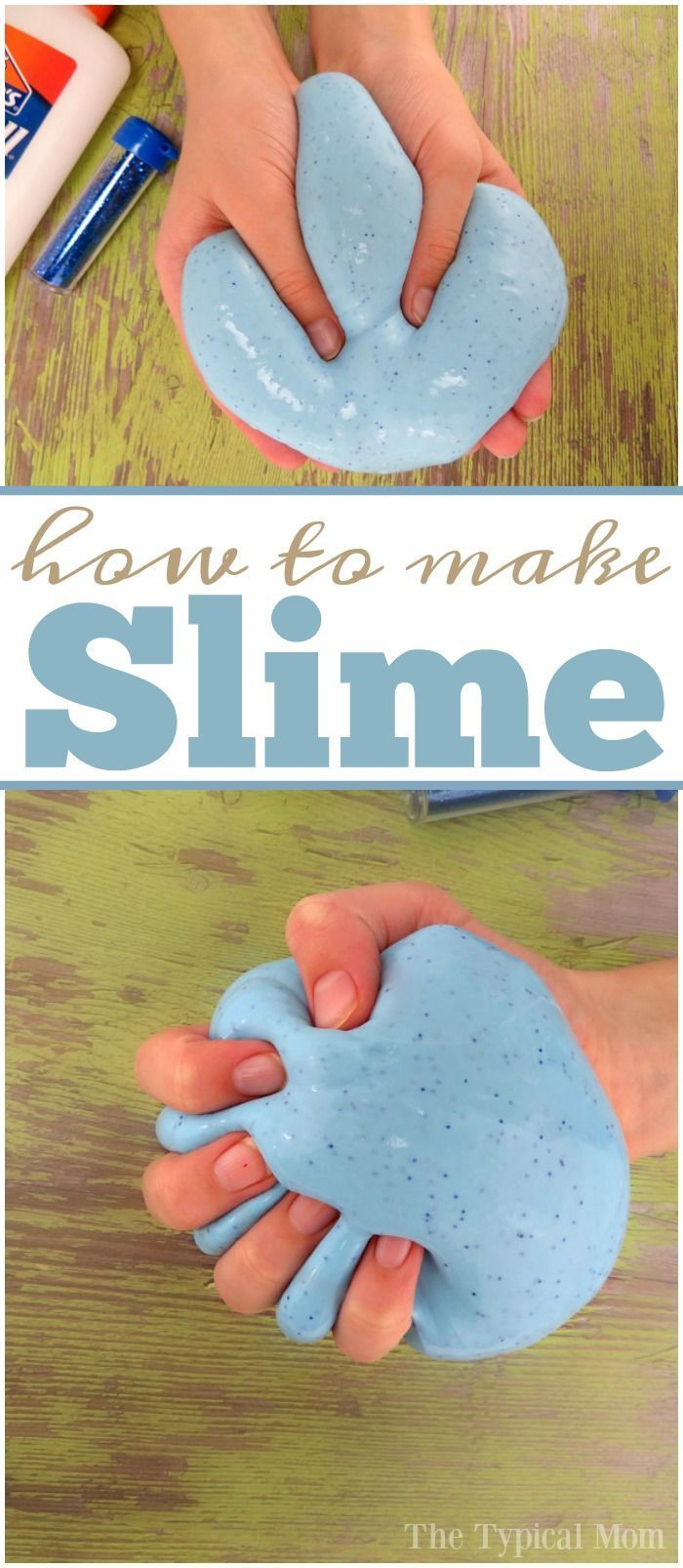 How to make slime with glue and a little glitter inside too! Easy recipe using just a few ingredients, and you can make it any color you like. via /thetypicalmom/