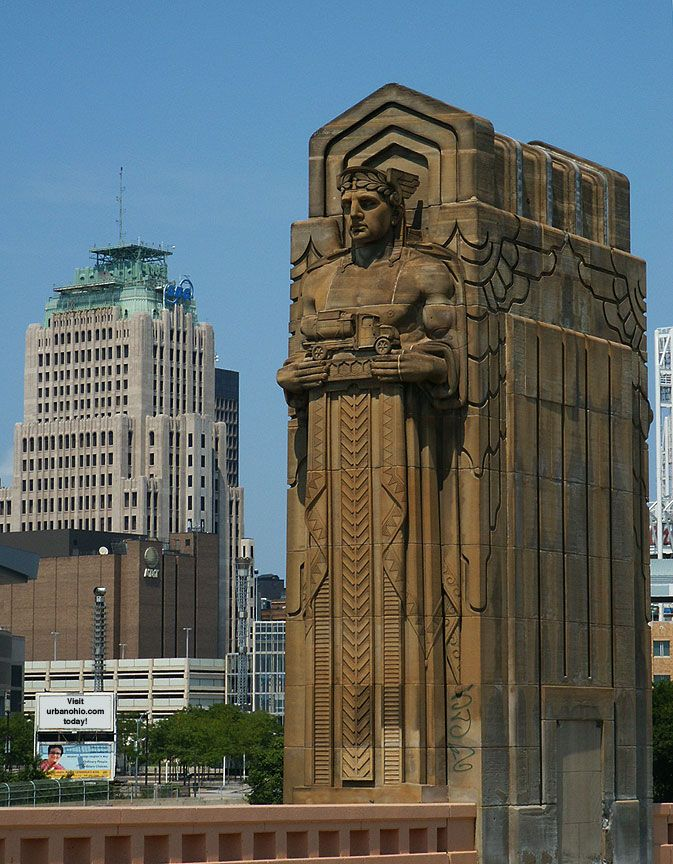 AT&T Huron Road Building (formally Ohio Bell Building), Huron Road, Cleveland, Ohio. Designed by Hubbell and Benes, 1927. Guardians of Traffic statue, Hope Memorial Bridge. Designed by Henry Hering and Frank Walker, 1932