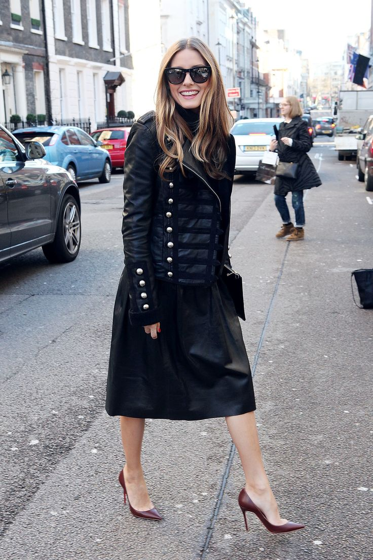 Olivia Palermo did what she does best, giving an eclectic-chic touch to a full leather skirt.