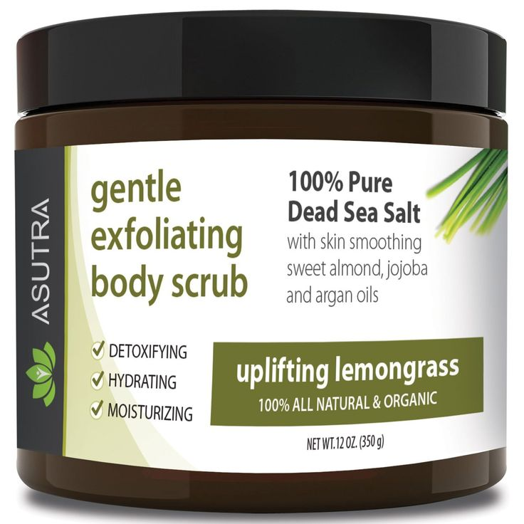 Best ORGANIC Exfoliating Body Scrub -'UPLIFTING LEMONGRASS' 100% Pure Dead Sea Salt Scrub / Ultra Hydrating and Moisturizing with SKIN SMOOTHING Jojoba, Sweet Almond and Argan Oils - 12oz * Special  product just for you. See it now! : SkinCare blackheads