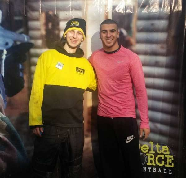 Adam Gemili sprints down Chemical Alley in Delta Force Paintball Orpington.