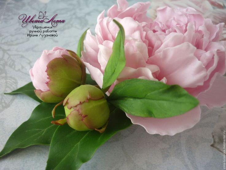Купить  - украшения с цветами, цветы из полимерной глины, холодный фарфор украшения, выпускной, украшения на выпускной