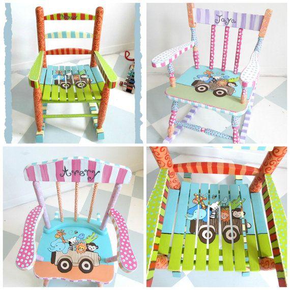 Painted Child Rocking Chair. Safari Theme Chair. Custom Personalized Kids  Rocking Chair.