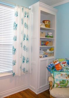 """adding beautiful curtains to your child's room doesn't need to cost any more than the price of 5-6 yards of fabric and some iron-on adhesive."""