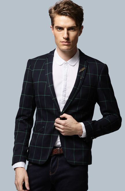 *Confident PILAEO Navy Blue Green Plaid Neat Blazer. #mens #luxury #fashion #BLAZER #BLAZERFORMEN #BLAZERfashion #menBLAZER #BLAZERTrend #pilaeo #officalBLAZER #travelBLAZER