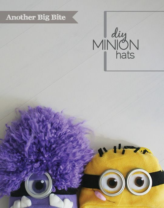 DIY Minion Hats - definately using these ideas...but will glue to ordered generic knit beanies from amazon... These are the cutest I have seen!