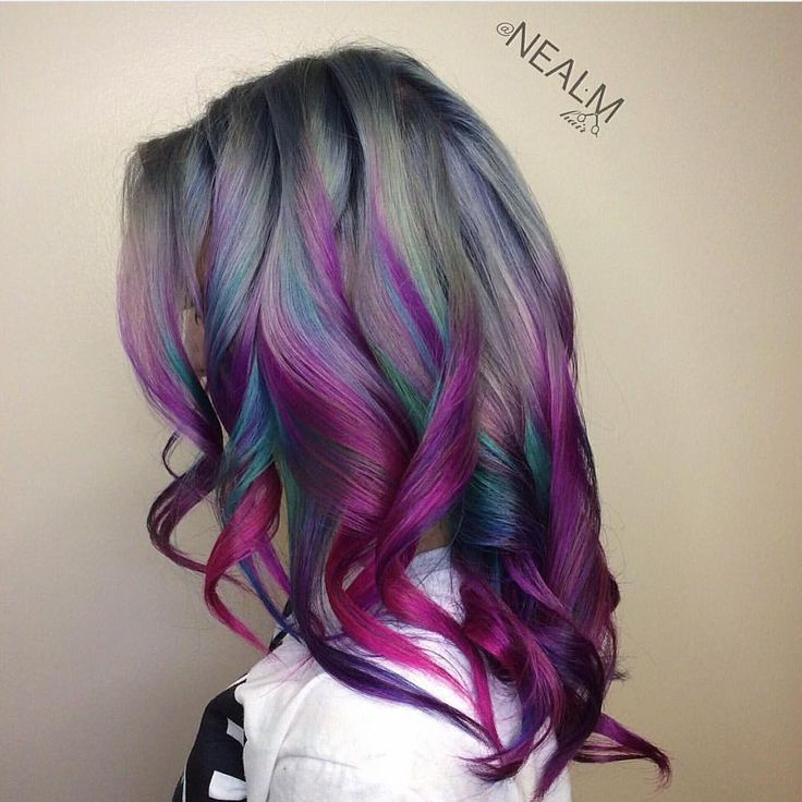 colorful gray, turquoise and purple highlights