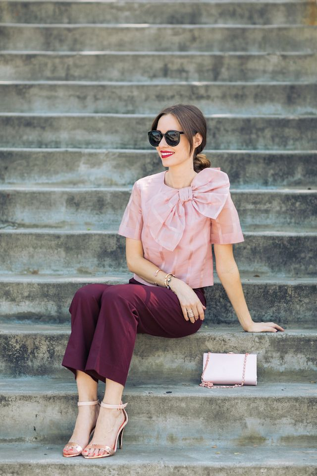 cute fall outfit with pink bow blouse and burgundy pants M Loves M @marmar
