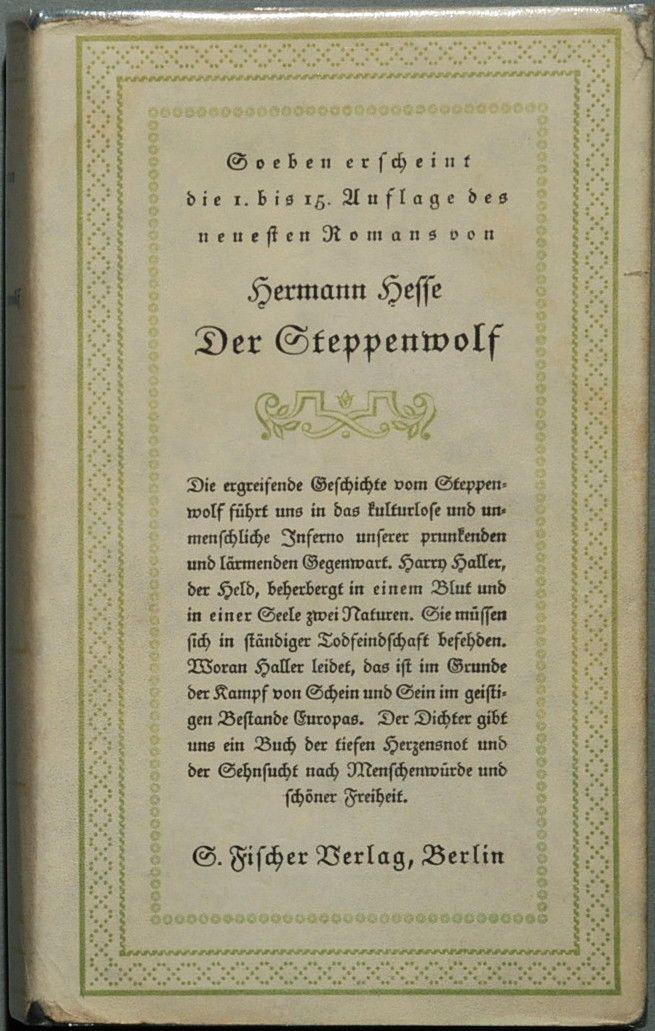 El Lobo Estepario (Steppenwolf)  ~ Portada de la versión original alemana