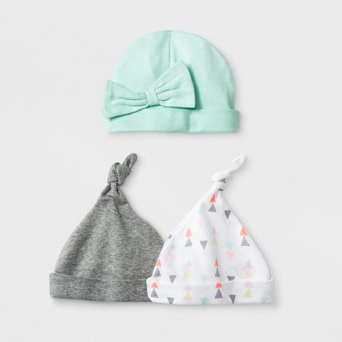d4c8ab20380ce Baby Girls' Geo Bright 3pk Hats - Cloud Island™ Mint Newborn | Baby ...