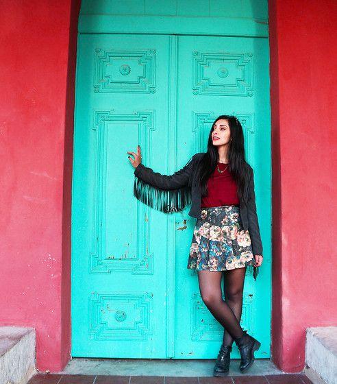 H&M Fringe Jacket, Zara Floral Skirt, Bronx Cut Out Biker Boots