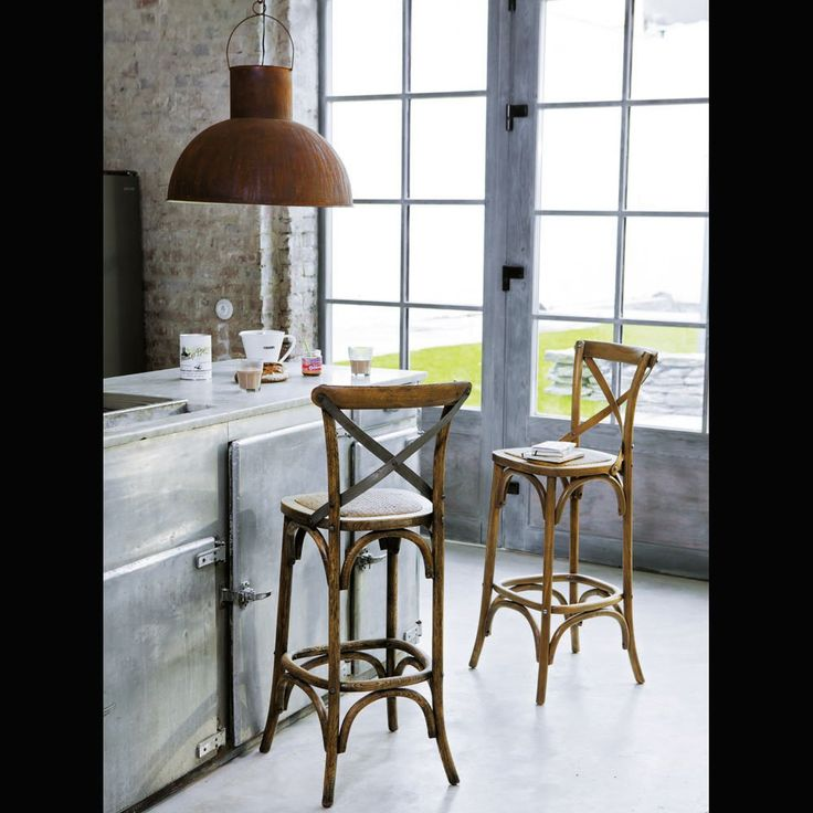 French industrial. Love the stools.