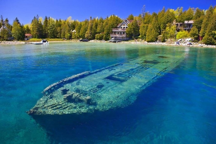 Sunken ship under lake