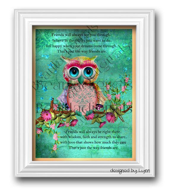 Printable Rainbow Friendship Owl Digital Digital by Beauladigitals