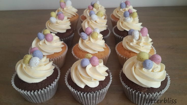 Speckled egg cupcakes.