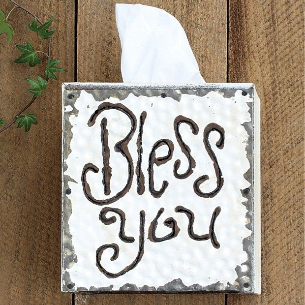 """Rustic """"Bless You"""" Tissue Box Cover"""