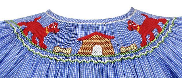Claire & Charlie Girls Periwinkle Blue Gingham Smocked Big Red Clifford Dog Bishop Dress