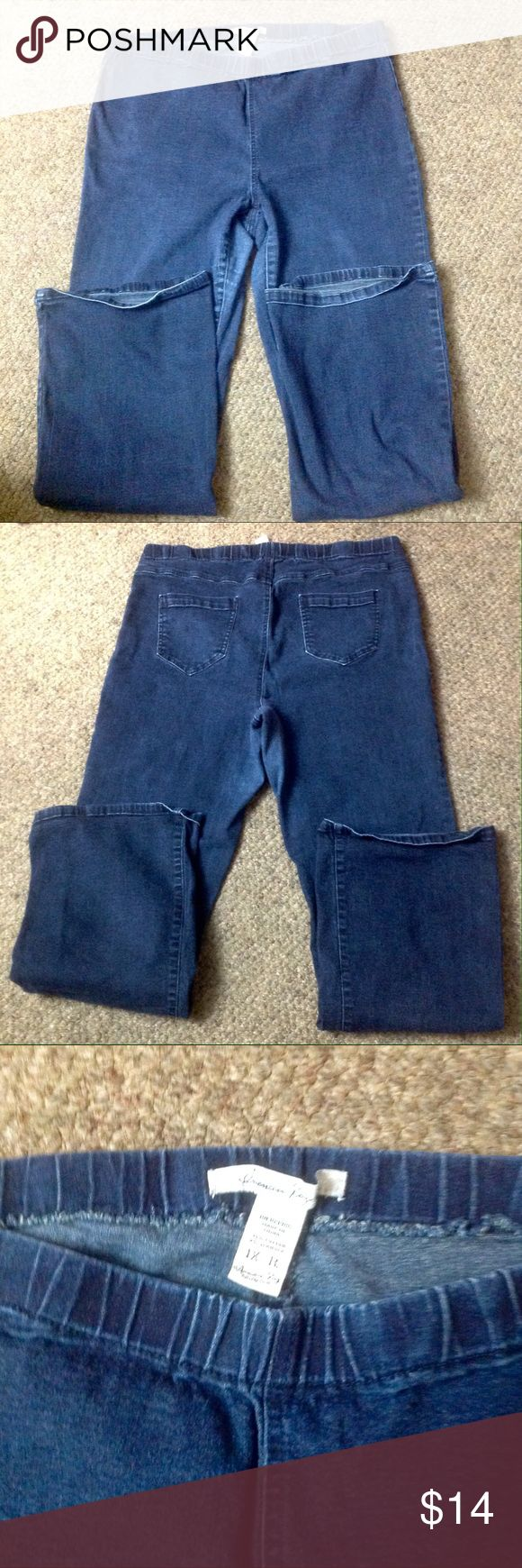 American Rag jeggings Good used condition Elastic waist Jean jeggings. Some wear in crotch area. Size 1x American Rag Jeans
