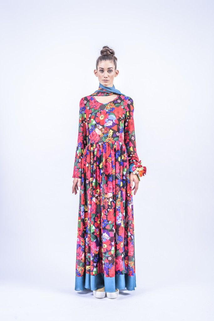 Romani Design, ss17, wanderers of the worlds, roma, gypsy, stripes, striped, floral, print, rose, roses, fashion, flower, flowers, outfit, spring, summer, dress, maxi, long sleeved, turquoise