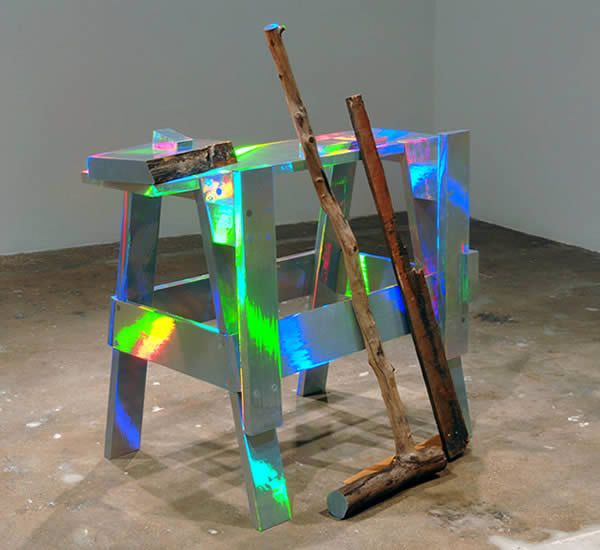 "David Shaw, ""Untitled,"" 2008, wood, steel, holographic laminate, paint; 46.75 x 30 x 43 """
