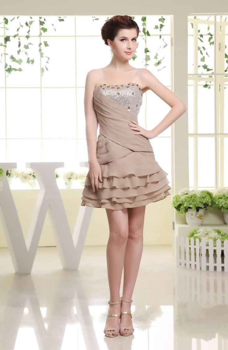 Strapless sequined ruched top tiered short chiffon dress