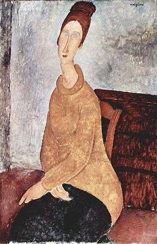 Jeanne Hebuterne con suéter amarillo (Jeanne Hébuterne in maglione giallo).  AMEDEO MODIGLIANI. Livorno (1884-1920). 1919. Óleo sobre lienzo. 100 × 65 cm. - Solomon R. Guggenheim Museum, New York, Estados Unidos.
