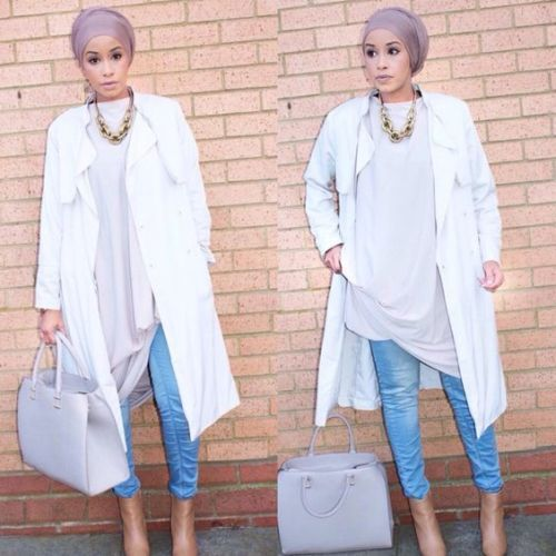 white hijab outfit turban style, Hijab spring street fashion http://www.justtrendygirls.com/hijab-spring-street-fashion/