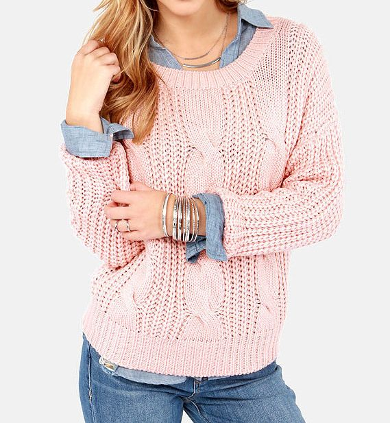 outfits+with+pink+pullover+sweater | ... 99] - Classic Round Neck Pink Wool Pullover Sweaters : ThatsPoint.com