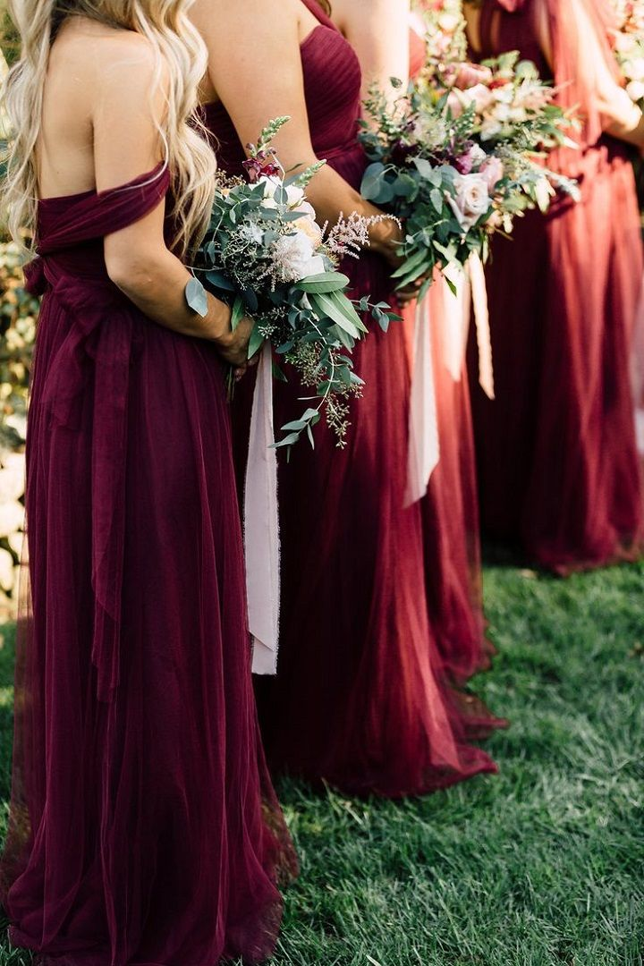 Mix and Matched bridesmaid dresses in burgundy ,plum and dark red #bridesmaiddresses #fallwedding