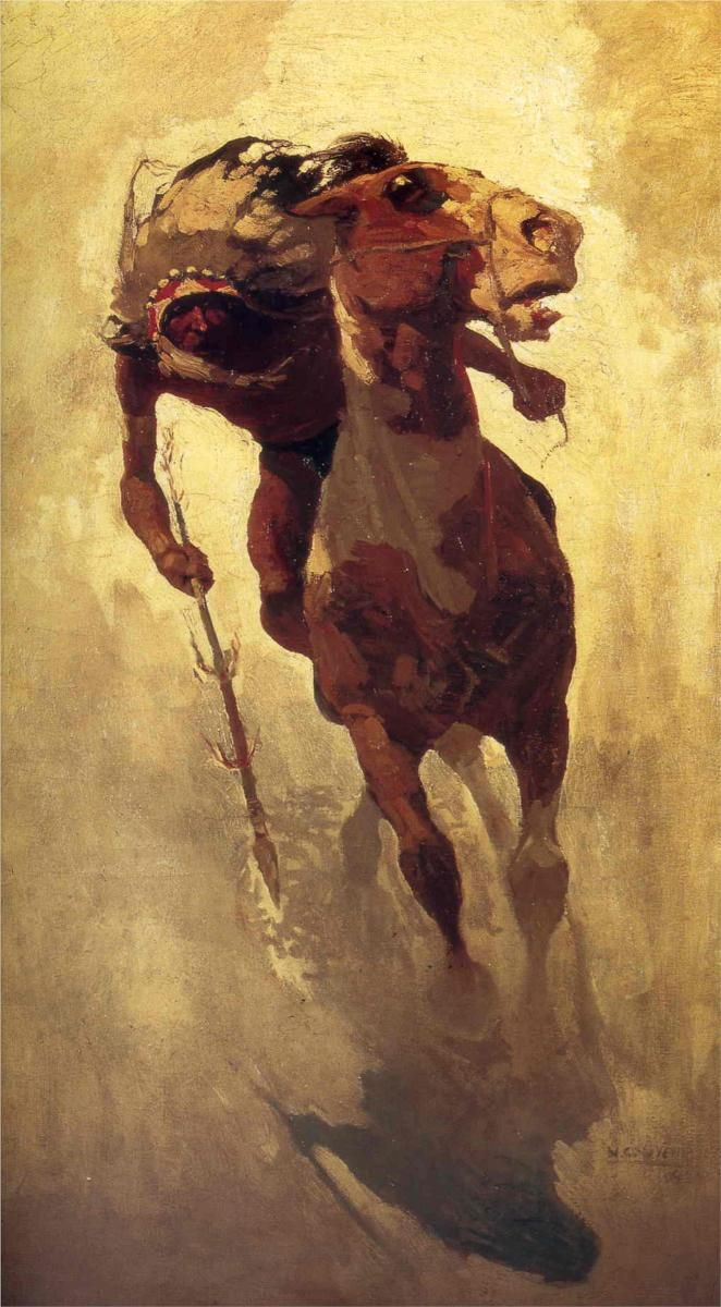 """The Indian Lance""                       Artist: NC Wyeth Progressive Books - Blogs fah451bks.wordpress.com"