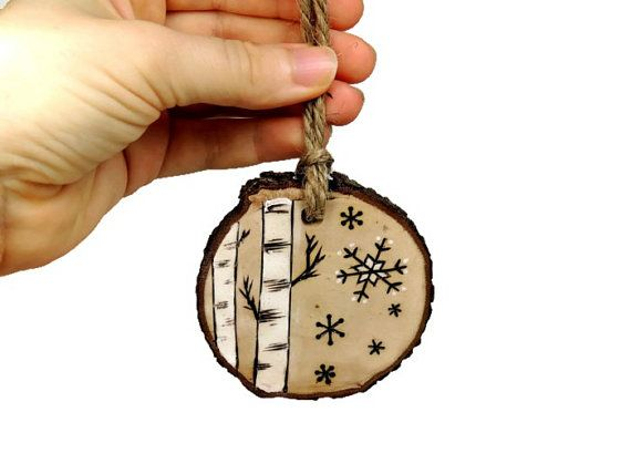 Birch tree ornament with snowflakes natural by SimplyTwitterpated