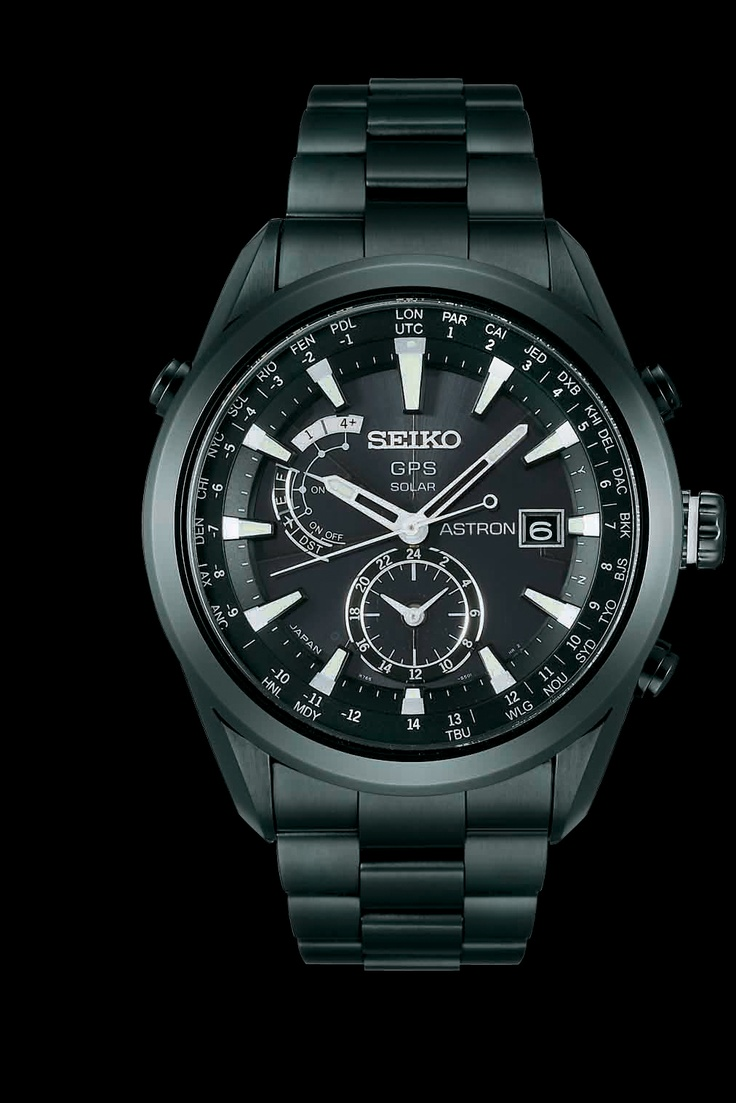 17 best images about seiko watches swarovski seiko astron gps solar watch black ion finish and white accents sast009