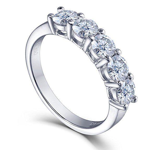 1.25 CTW Round Lab Moissanite Diamond Half Eternity Anniversary Wedding  Band Ring