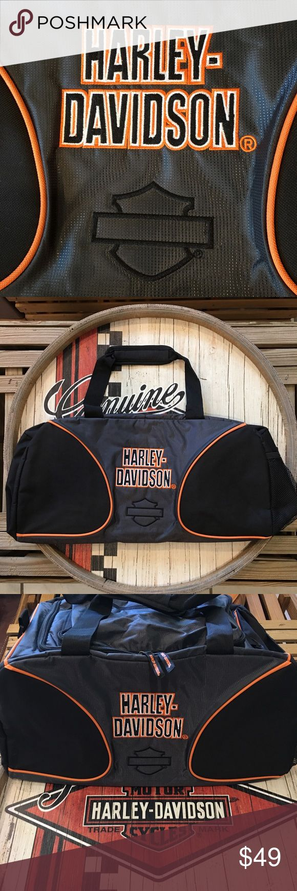 🔶◼️Harley-Davidson Duffle Bag Harley-Davidson ®Duffle Bag:                         * Perfect for Gyms  * Handy for Travel * Great for Riding * Lightweight * Collapsible * 3 Large Pockets * Zippered  * Velcro Handles                                       Price Firm unless bundled Harley-Davidson Bags Duffel Bags
