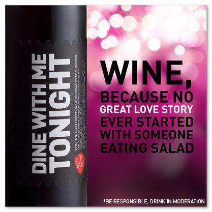 Vinho, porque nenhuma grande história de amor começou com alguém a comer uma salada! *** Wine, because no great story started with someone eating salad.  Our Wine, Your Spirit www.store.winewithspirit.net #WineWithSpirit #DineWithMeTonight #vinho #portugal