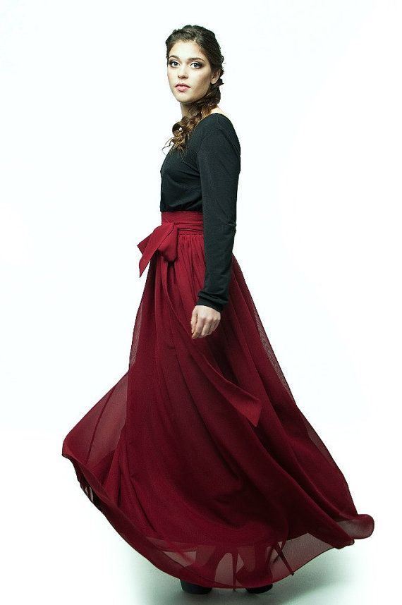 Burgundy Maxi Skirt.Party Skirt Holiday.Summer by FashionDress8