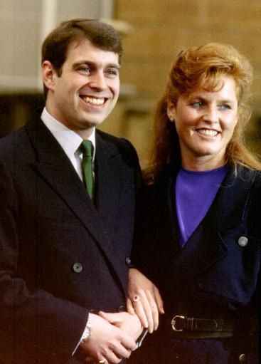 Prince Andrew and Sarah Ferguson on the day of their official engagement at Buckingham Palace, London on March 19, 1986