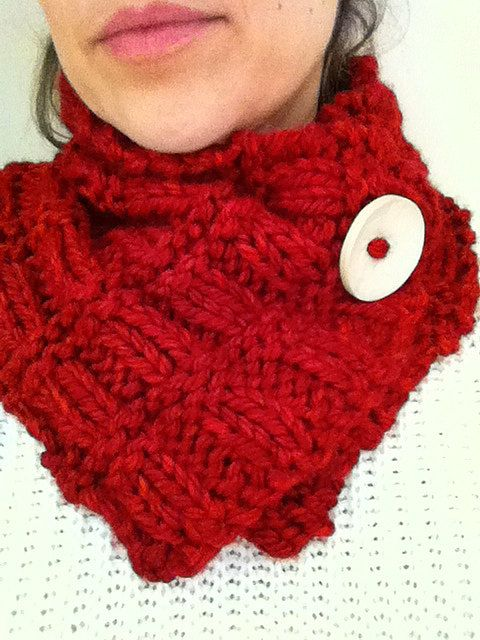 Red hand knitted cowl neck warmer by RTMDesigns on Etsy