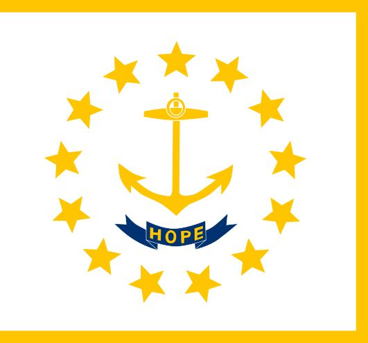 """Placed on a white field is a circle of thirteen gold stars representing the first thirteen states. The stars surround a gold ship's anchor. The states motto """" Hope"""" is on a blue ribbon below the anchor."""