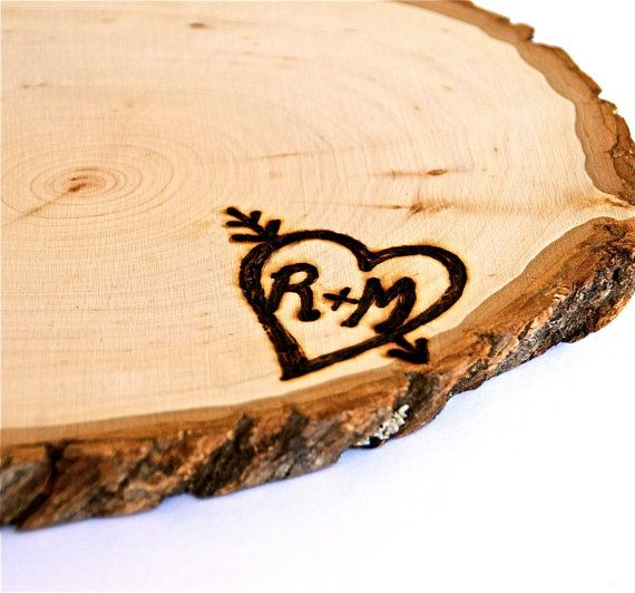 Personalized Rustic Wood Tree Slice by ElizaLenoreDesigns on Etsy, $19.00 (cute centerpiece idea)