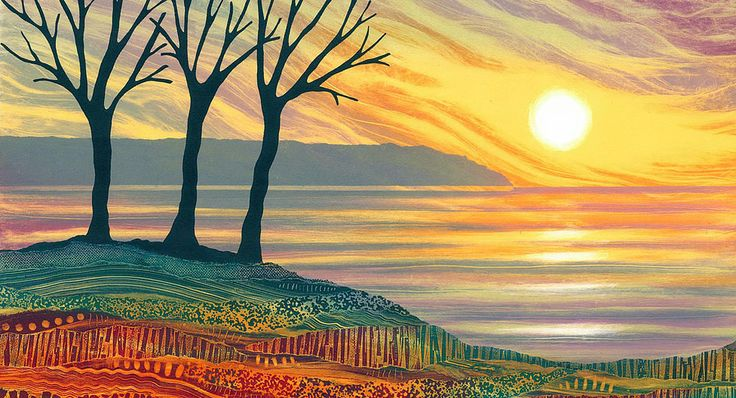Colourful landscape art from Northumberland artist Rebecca Vincent. Limited edition prints and greetings cards. A Perfect Moment. Sunset over the sea with winter trees