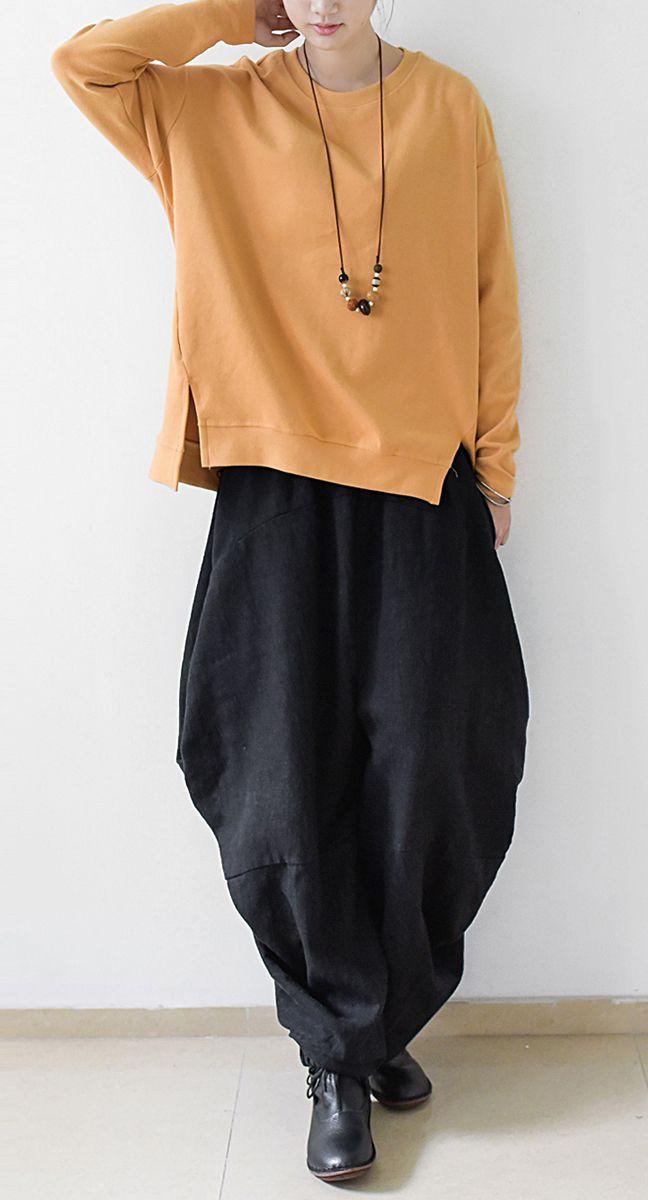 Yellow womens sweatshirt short top thick cotton pullover