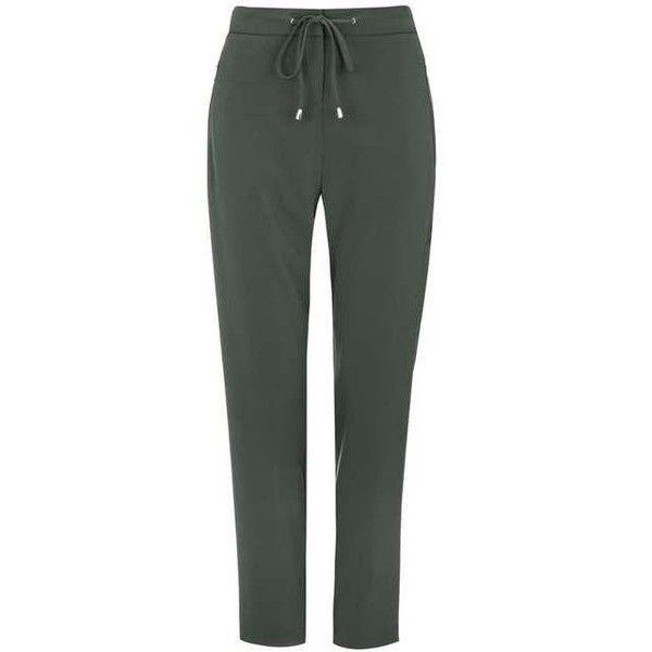 Khaki Jogger Trouser ($62) ❤ liked on Polyvore featuring pants, khaki jogger pants, green jogging pants, khaki trousers, green pants and jogger pants