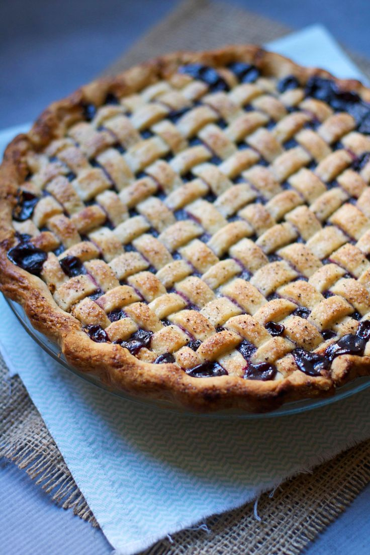 Lattice- Topped Cranberry Blueberry Pie- The Baker Chick