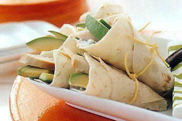 Chicken and avocado tortilla cones