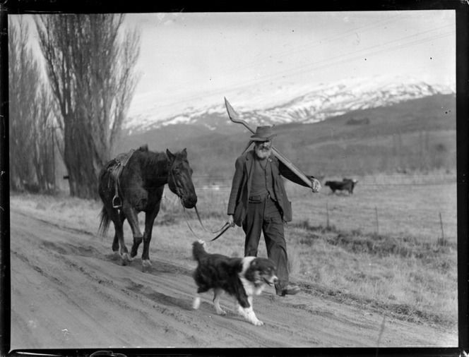 Miner with horse and dog